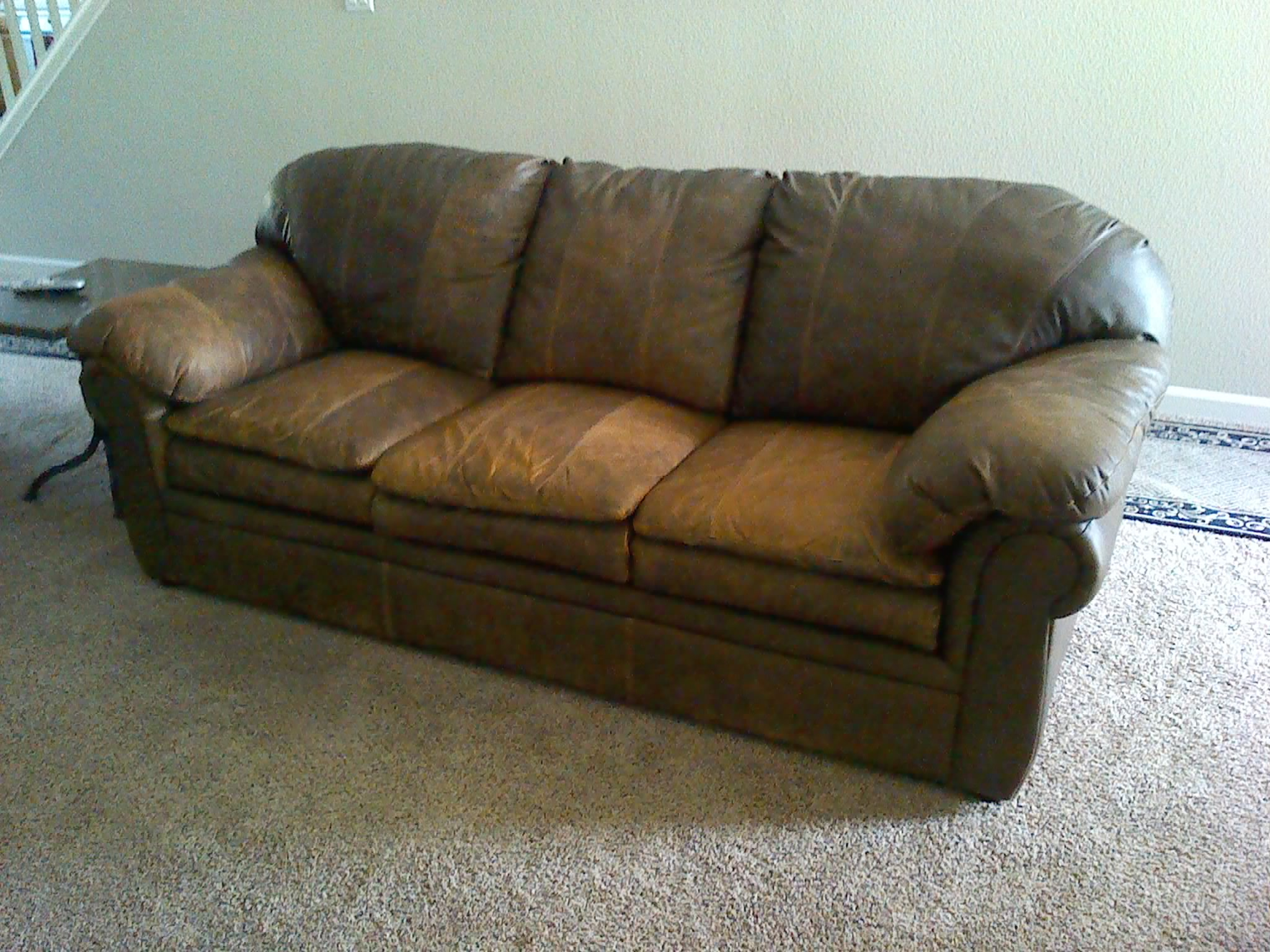 """Conditioning """"Bomber Jacket Look"""" Leather Couch & Chair"""